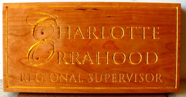 G16081 - Cedar Wood, 24K Gold-Leaf Name Plaque for Regional Director of National Park Service