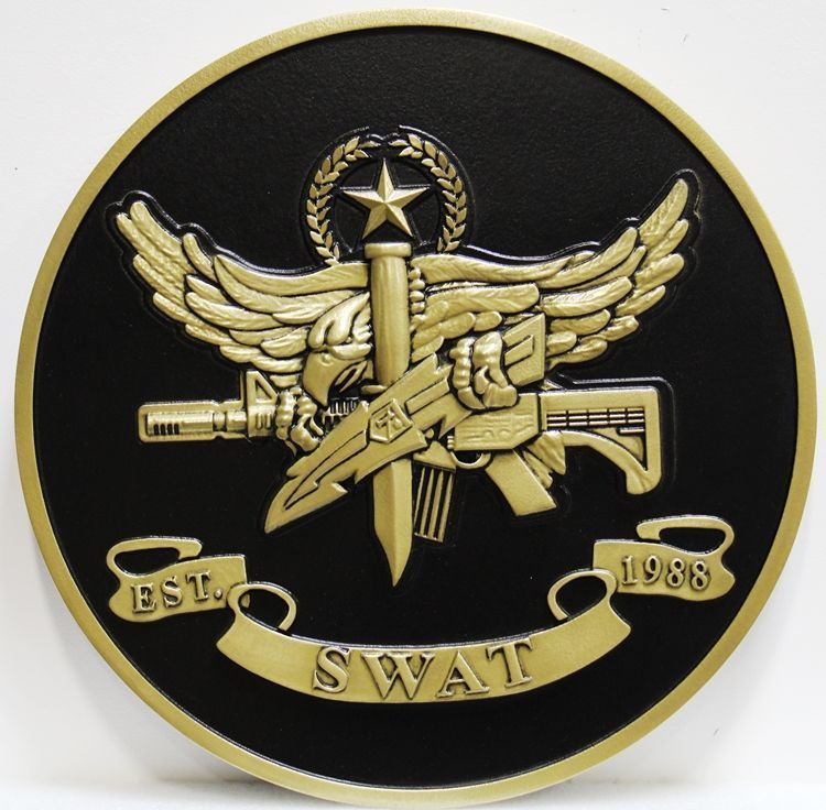 X33699 - Carved 3-D HDU Plaque of the Badge of a SWAT Team