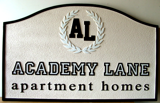 "K20157 - Carved and Sandblasted HDU Apartment Entrance Sign,""Academy Lane"" with Wreath Logo"
