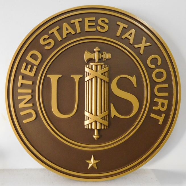 FP-1110 - Carved Plaque of the Seal  of the US Tax Court, Painted with Metallic Bronze Paint