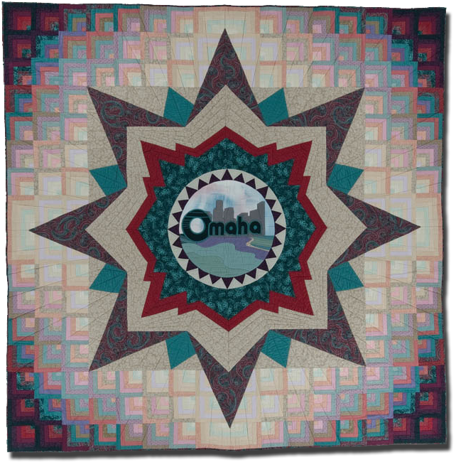 Medallion, 'Star of the Heartland,' made by Omaha Quilters Guild, made in Omaha, Nebraska, United States, dated 1986, 97.75 x 97.25 in, IQSCM 2007.026.0001