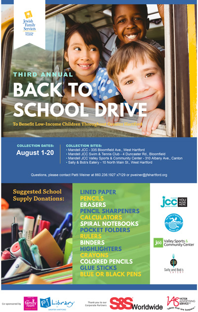 JFS Third Annual Back To School Drive Aug 1-20