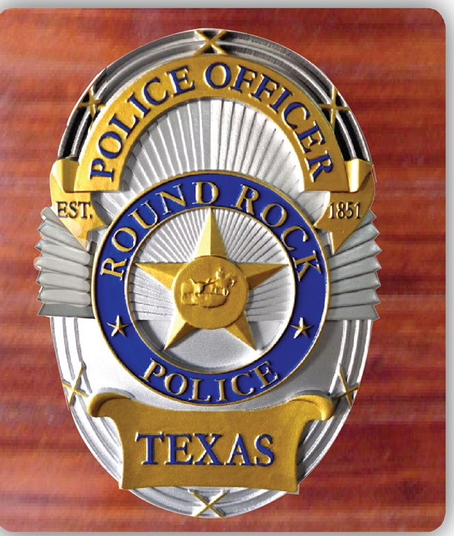 EA-2100-  Badge of Police Department of the City of Round Rock on Mahogany Plaque