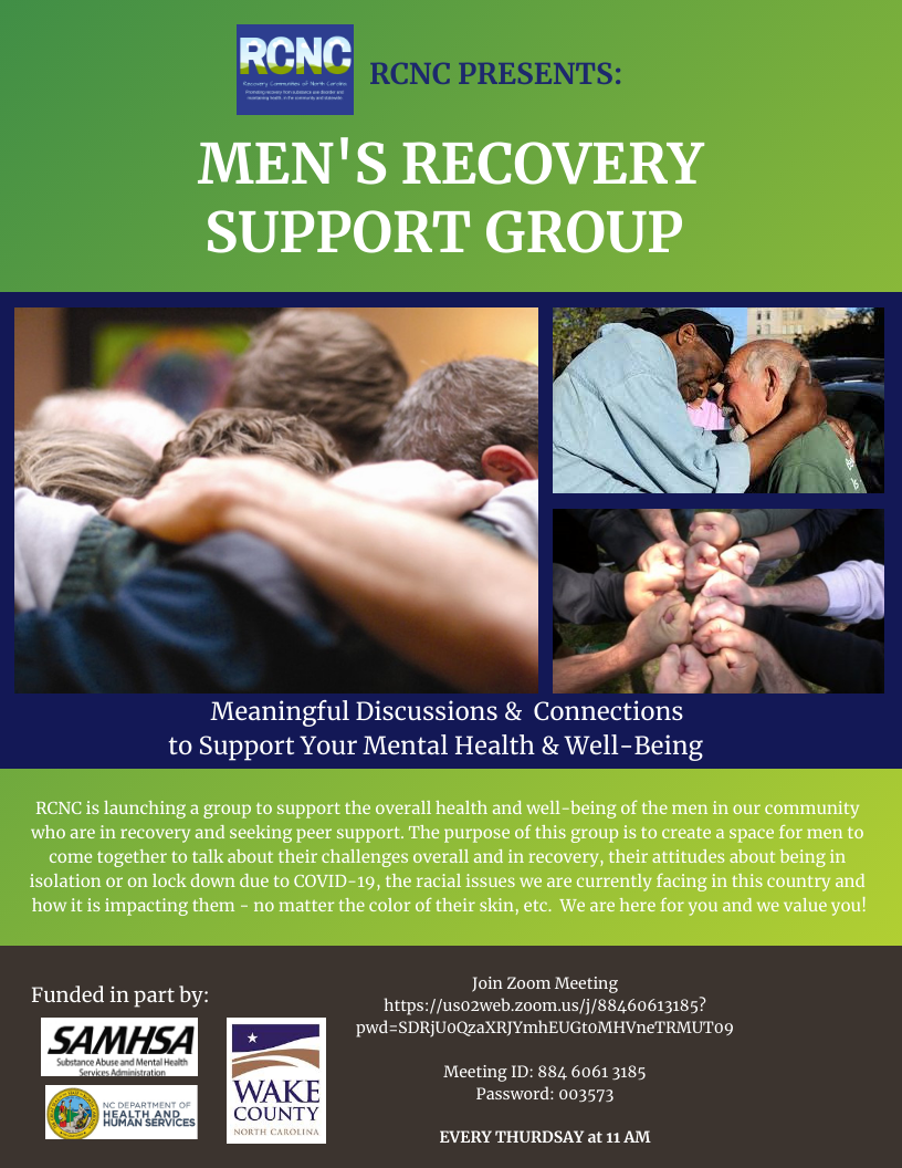 Men's Online Recovery Support Group - Every Thursday at 11 AM