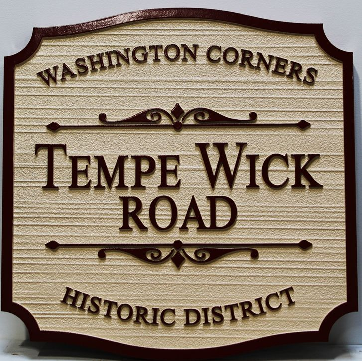 H17035 - Carved  and Sandblasted Wood Grain HDU) Name Sign, Tempe Wick Road,for Washington Corners Historical District