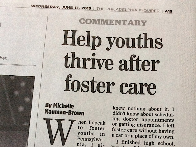Michelle shares story, push for permanency in Philadelphia Inquirer column