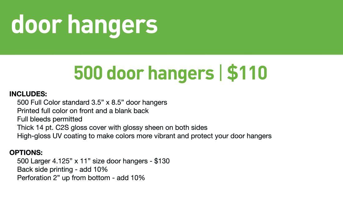 SBB Door Hangers- Std lead time 10-12 business days