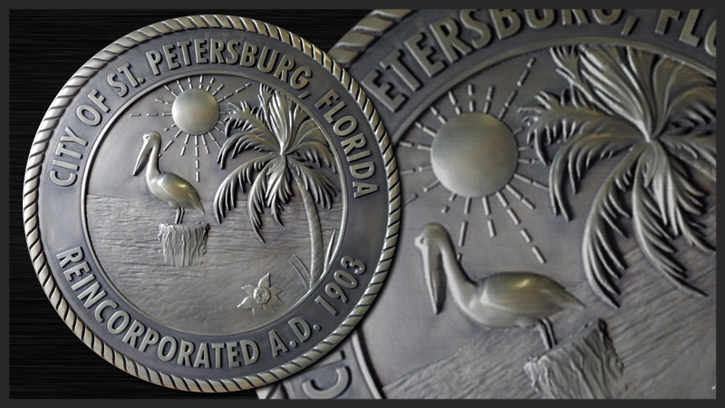 M7260 - Carved 3D Stainless Steel Plaque of the Seal of the City of St. Pertersburg, Florida.