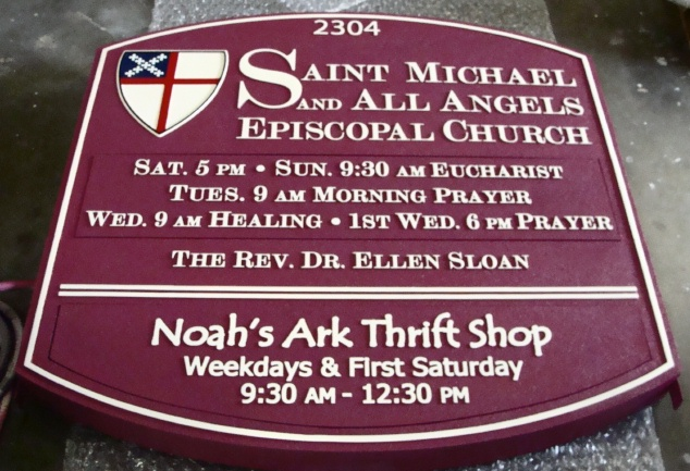 D13046 - Episcopal Church Entry Sign with Thrift Shop Sign Attached