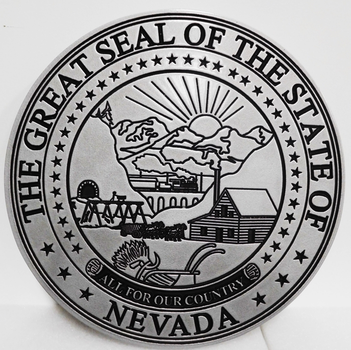 BP-1327 - Carved Plaque of the Great Seal of the State of Nevada, Engraved 2.5-D Aluminum-Plated