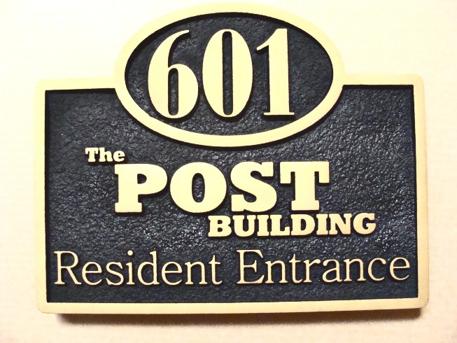 """SA28532 - Carved and Sandblasted 2.5-D  HDU Address Sign for the """"Post Building"""" Residence Entrance"""