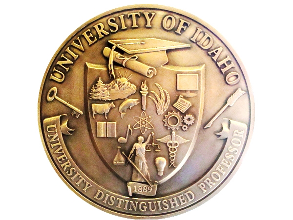 M7164 - Brass 3D Bas-relief Wall Plaque of the Great Seal of the University of Idaho