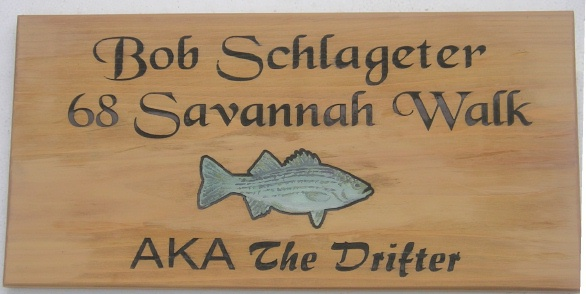 L21984 - Carved Engraved Cedar Name and Address Sign with Fish
