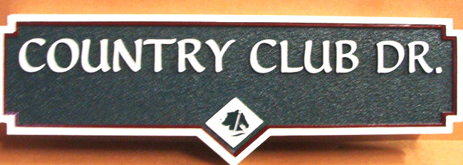 E14560 - Sandblasted HDU Street Sign for Country Club Lane
