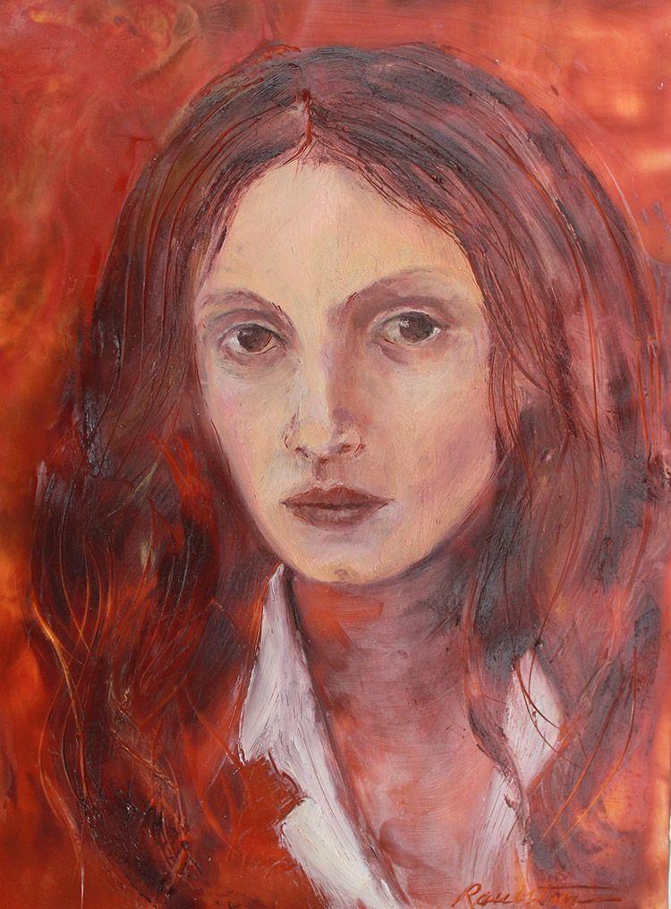 "Portrait of a Muse,  oil & encaustic on panel, 8"" x 10"""