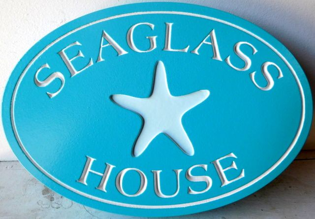 """L21501 -Engraved Coastal Residence Sign """"Seaglass House"""", with Recessed Starfish"""