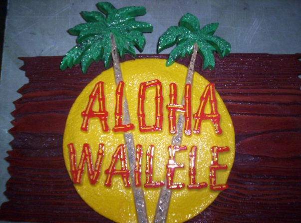 I18353 - Carved HDU over Redwood Hawaiian Sign, with Palm Tree and Moon