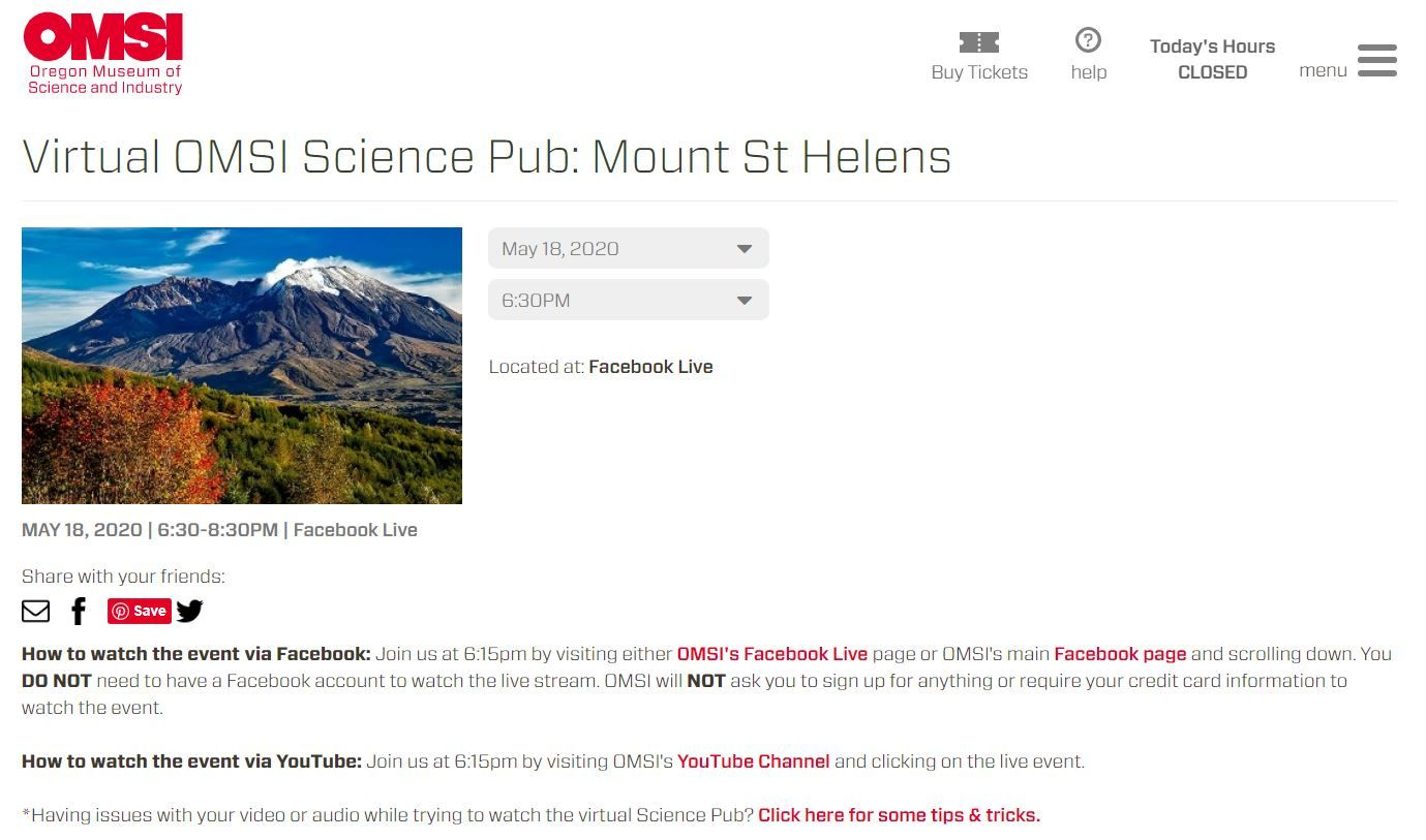 OMSI Virtual Science Pub: Mount St. Helens rocked our world!