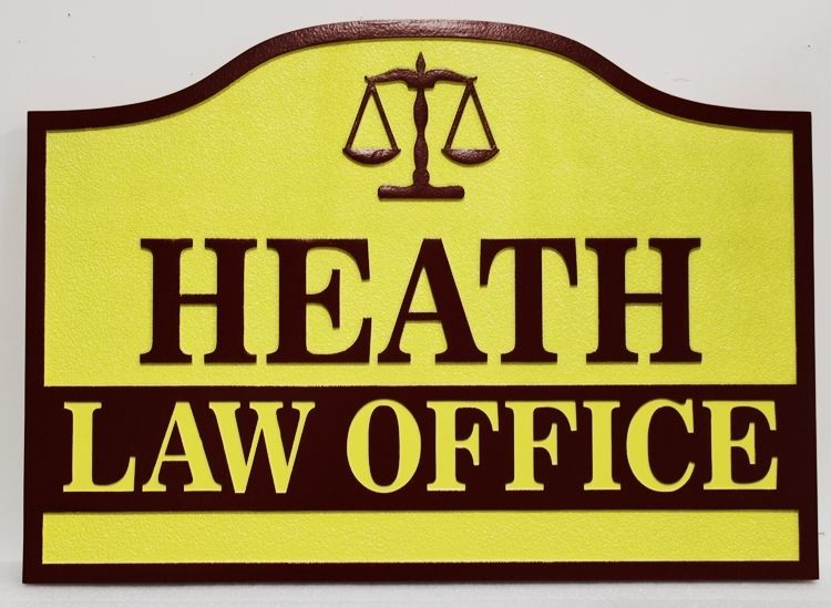A10516 - Carved and Sandblasted High-Density-Urethane (HDU) Sign for the Heath Law Office