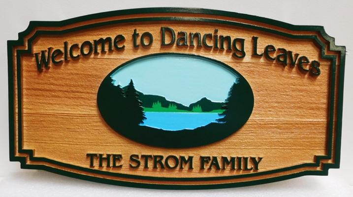 """M22333 - Carved and Sandblasted Cedar Vacation Home Name """"Dancing Leaves"""", with Mountains, Lake and Trees as Artwork"""