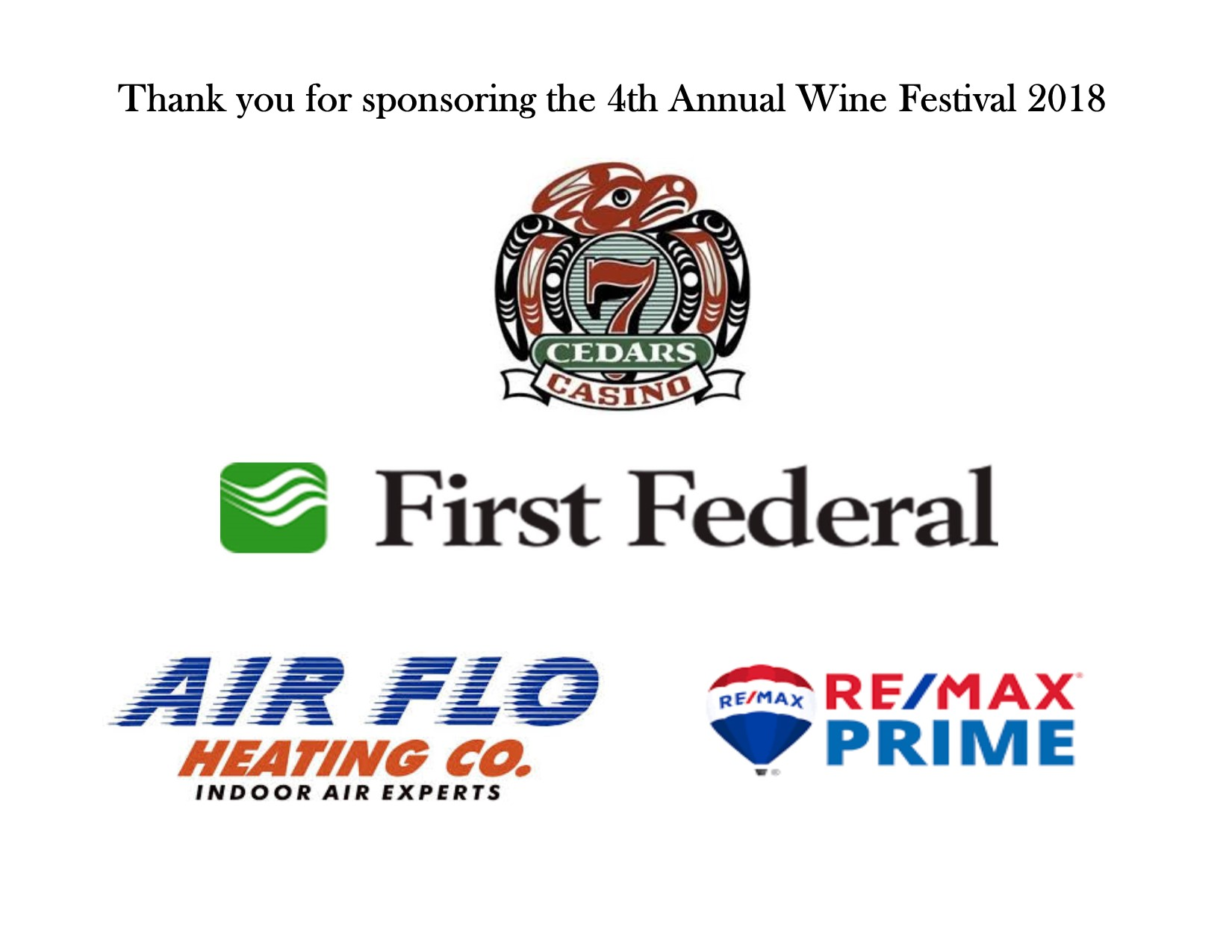 4th Annual Wine Festival Sponsors