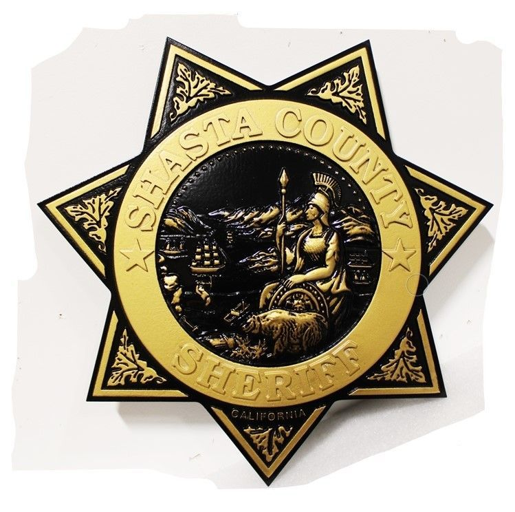 PP-1763 - Carved 3-D HDU Plaque of the Star Badge of the Sheriffof Shasta County, California