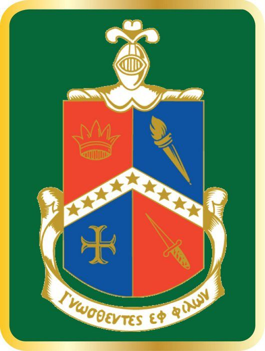 Y34515 - Carved 2.5-D (Flat Relief)  HDU Wall Plaque for Alpha Delta Gamma Fraternity Coat-of-Arms