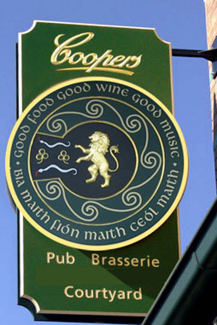 RB27575 -   Carved  Irish Pub and Brasserie Blade Sign with Rampant Gold Lion and Gaelic Text