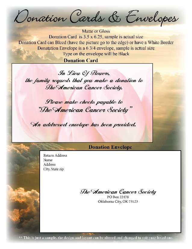 Funeral or Memorial Donation Cards and Envelopes