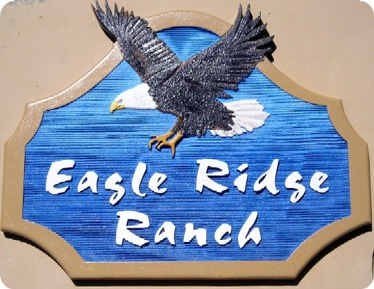 O24622 - Carved 3-D Sign for Eagle Hill Ranch with Sky and Flying Eagle as Artwork