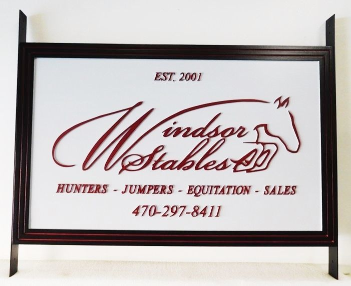 """P25305 - Entrance Sign for the """"Windsor Stables""""   with a Carved Outline  of an Horse Jumping over a Fence as Artwork"""
