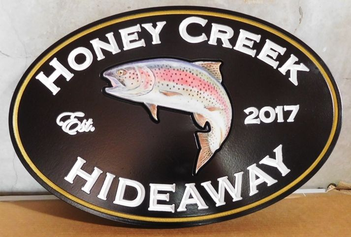 """M22559 - Beautiful HDU Property Name Sign for the """"Honey Creek Hideaway"""" Cabin, with  a  Carved 3-D Rainbow Trout"""
