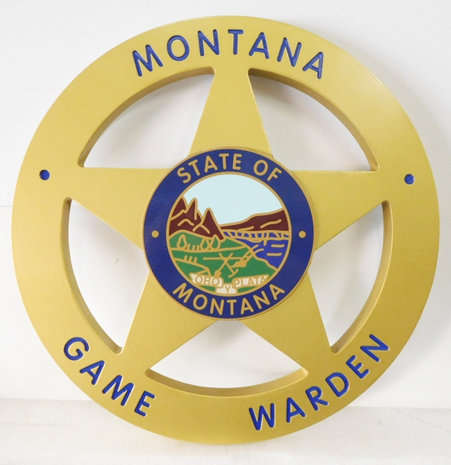 PP-1580 - Carved Plaque of the Badge of Montana Game Warden, Metallic Gold Painted