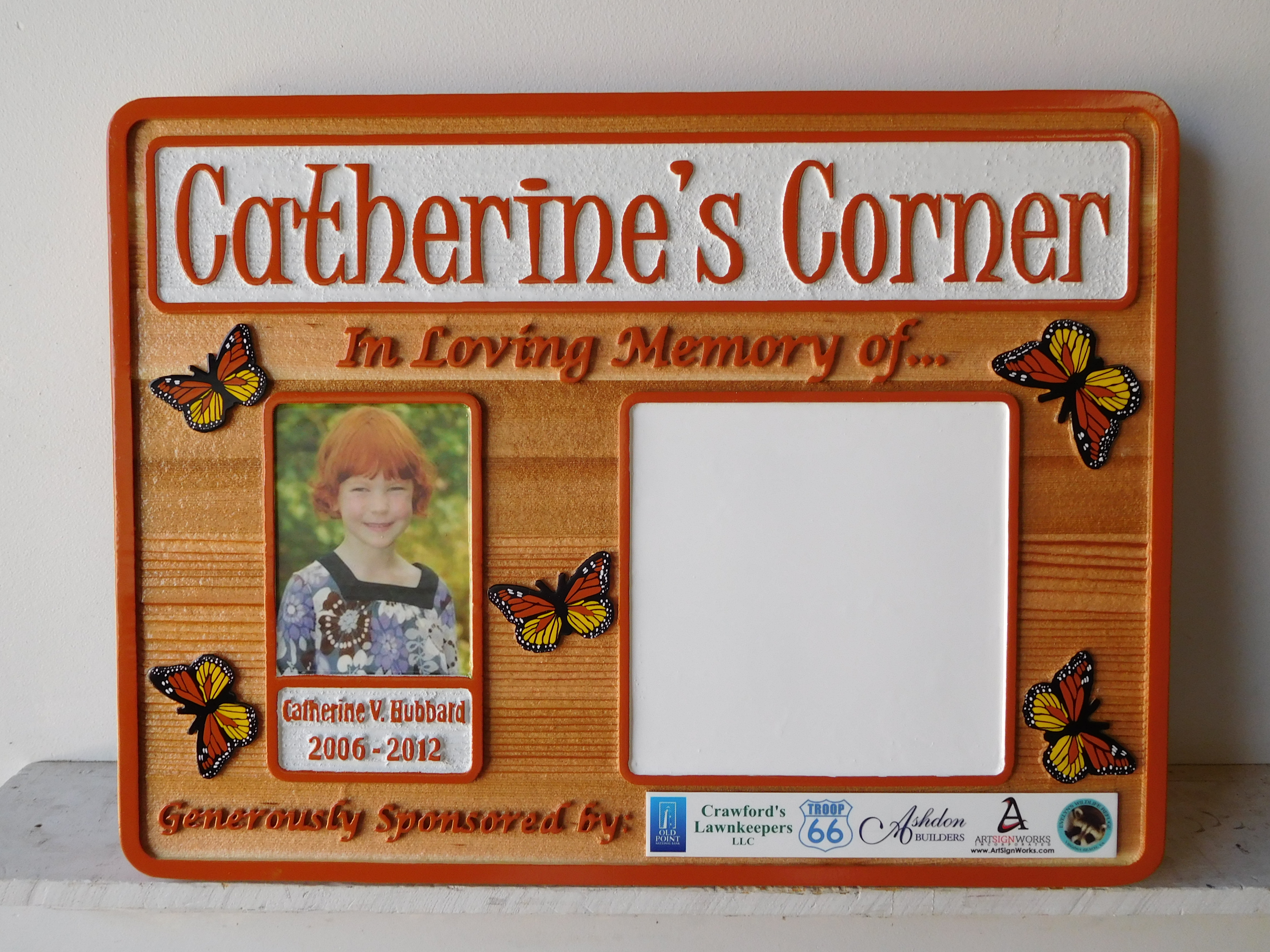 WP5430 - Catherine's Memorial Plaque, 2.5-D Stained Cedar