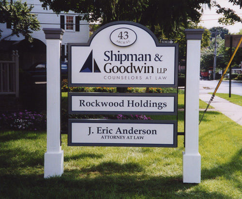 Carved Posts & Panel Directory Sign, Painted Lettering and Borders, Raised Applique Address Plaque