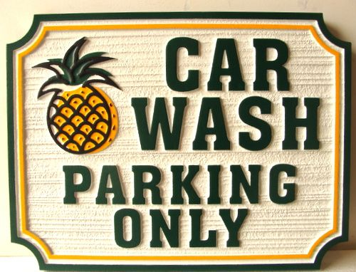 SA28518 - Attractive Sign for Car Wash Parking Only, with Pineapple Hospitality Logo.