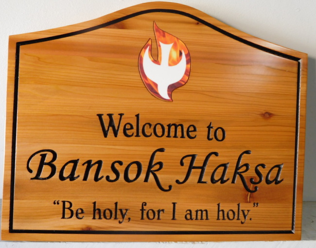 "M3044 - Carved Cedar Wood Sign for ""Welcome to Bansok Haksa"" with Christian Symbols: Dove and Flames (Gallery 14)"