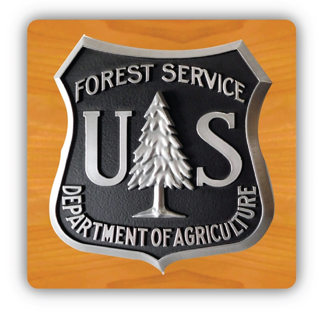 EA-2055 - Logo of the US Forest Service (USFS) on Mahogany Plaque