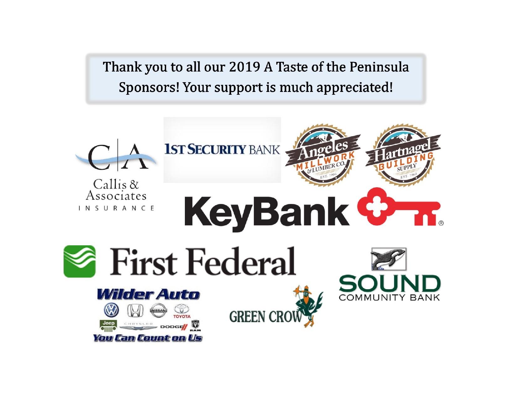 2019 A Taste of the Peninsula Sponsors