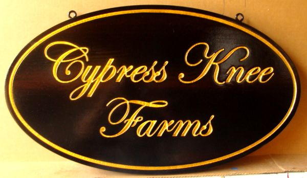 024028 – Carved Engraved Property Sign for Cypress Knee Farms, with 24K Gold-Leaf Gilding