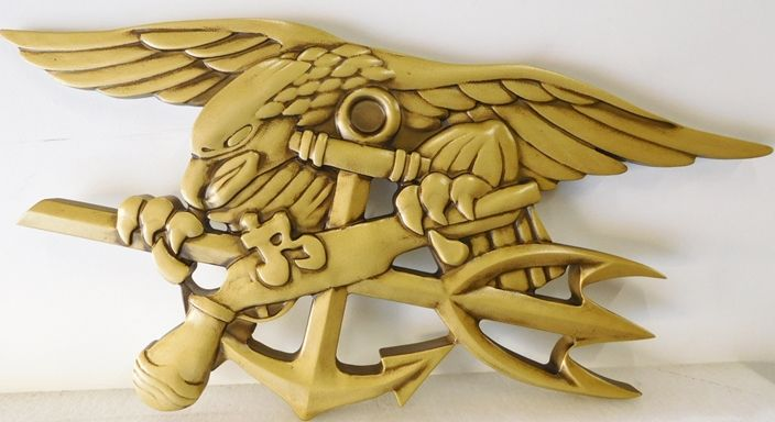 JP-1910 - Carved Plaque of Badge of  Navy Special Warfare Group (SEAL Team),  Painted Gold Metallic