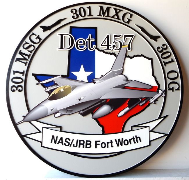 LP-2540 - Carved Round Plaque of the Crest of the 301 MSG Det 457 NAS/JRB  Ft. Worth,  Artist Painted F16