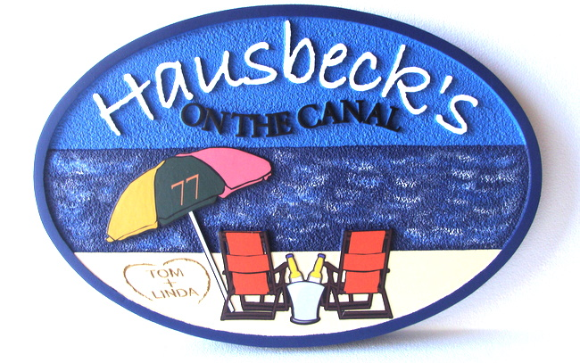 L21465 - Beach House Sign with Umbrella and Two Chairs