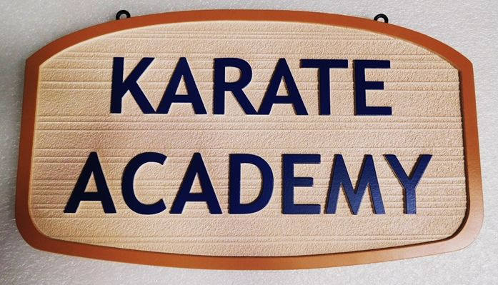 "FA16685 - Carved ""Karate Academy"" Sign, 2.5-D Raised Relief"
