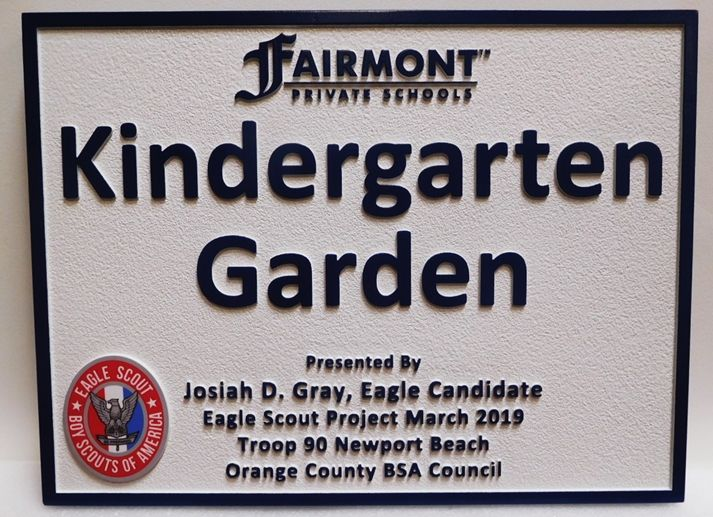 "GA16529 - Carved High-Density-Urethane (HDU)  Sign ""Kindergarten Garden""  Was Made for  an Eagle Scout Project."