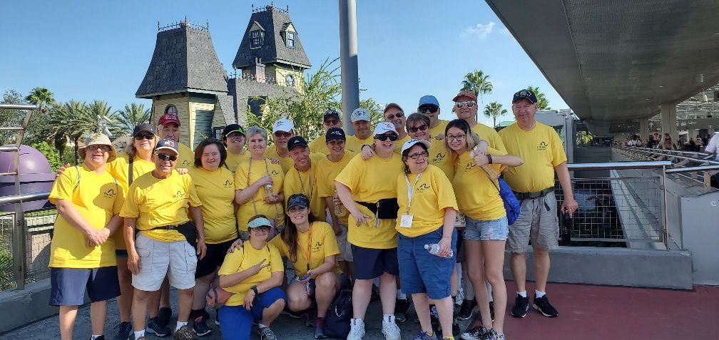 Recreation group photo on their Orlando, FL vacation in Fall, 2019.