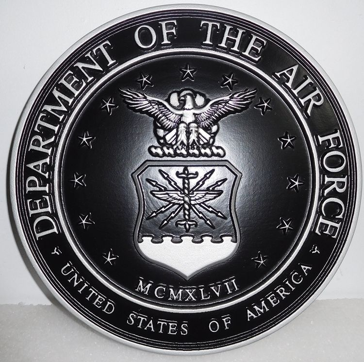 Y31509 - 3-D Nickel/Silver Wall Plaque of the US Air Force Emblem with Hand-Rubbed Black Paint