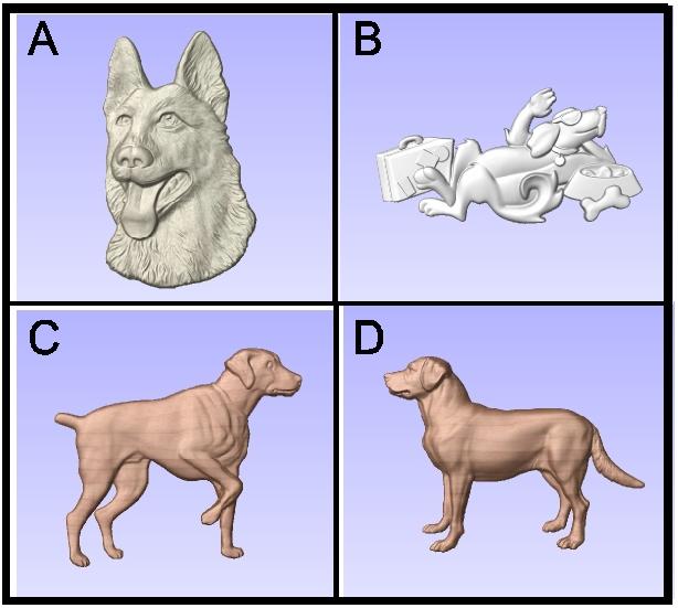 I18986 -Carved 3-D  Dogs