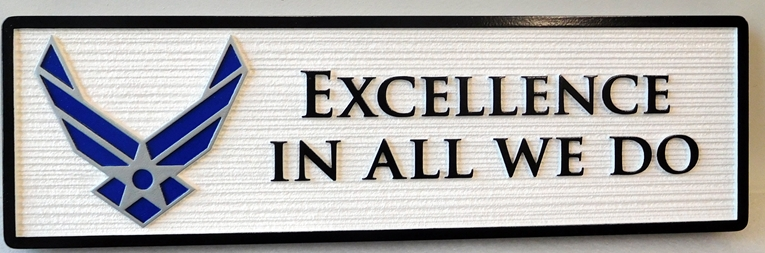 "EA-5165 - Motto of the United States Air Force, ""Excellence in All We Do"", Mounted on Sintra Board"