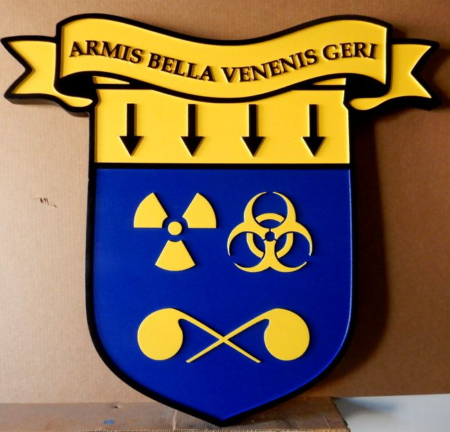 "MP-2060 - Carved HDU Plaque of the Crest of the Center for Deterrence Studies, US Army, with Motto  ""Armis Bella Venenis Geri"""